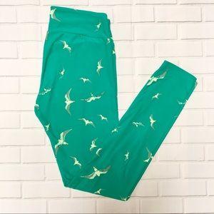 LuLaRoe leggings. Turquoise with seagulls. OS